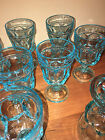 8 Mid Century Bright Turquoise Blue Stemmed Glassware