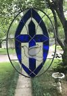 Stained Glass Window Large Suncatcher Spiritual Cross w Dove Overlay 16 x 12