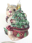 FITZ AND FLOYD CHRISTMAS LODGE RABBIT ORNAMENT GLASS HAND-PAINTED BUNNY/TREE