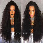 Long Black Loose Curly Synthetic Lace Front Wigs For Black Women With Baby Hair