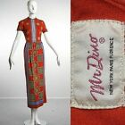 S XS Vintage 1960s 60s Mr Dino Short Sleeve summer Dress Red Op Art Designer