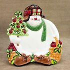Fitz & Floyd Appletree Snowman Canape Plate 2063/26 Apples Tree Figural Dish NEW