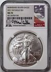 2011 W 1 Burnished Silver Eagle NGC MS70 Mike Castle Signature Flag Label