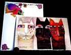 SUSAN BURCH Kitty Cats Heads Faces Unique Art Blank Greeting Note Card NEW
