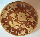 Fitz And Floyd Del Vino Flowers 4 Party PlateTan Floral On Rust With Yellow Trim