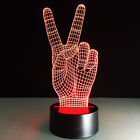 3D Night Light Lamp Acrylic Peace Sign V Gesture Decoration Home Bedtime Gift