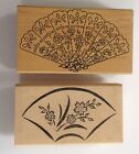 Two Large Fan Rubber Stamps Chinese Asian Japanese Crafts Cards Scrapbook