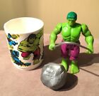 VINTAGE The Incredible Hulk Action Figure And Marvel Comics cup