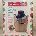 SunBeam 4 Quart Wooden Bucket Ice Cream Maker NIB