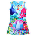 Newest Kids Girls Poppy Trolls Sleeveless Dress Summer Casual Party Vest Dresses