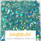 Mermaid Teal Sea Green Hex Silver Star Glitter Mix Nail Art  Solvent Resistant
