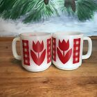 Red Gingham Tulip Glasbake Stacking Coffee Tea Cup Mugs Set Of Two 2