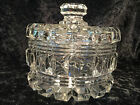 Vintage Large Heavy LIDDED GLASS CANDY DISH/POWDER DRESSER TRINKET BOWL CANISTER