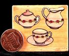 Teapots Teacup Floral Posh Impressions Small Wood Rubber Stamp USED