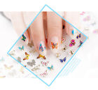 24/12/3 pcs Flowers Butterfly Pattern 3D Nail Art Stickers Manicure Tips Mix tip
