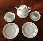 Thomas Germany White Wide Platinum Tea Set Teapot Cups Saucers And Plates