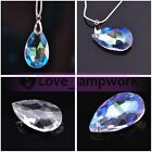 Lot 5pcs Teardrop Faceted Crystal Glass Loose Spacer Beads Pendant 22 28 38mm