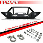 Black Textured Front Bumper 15 With 4 LED Lights Fit 2007 2017 Jeep Wrangler