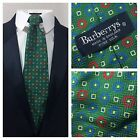 Burberrys Vintage Vtg Silk Green Tie Colored Circles Pattern Made in England