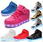 Boys Girls USB 7 LED Light Up Shoes Kids Child High Top Luminous Casual Sneakers