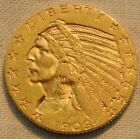 1909 $5 Gold Indian Half Eagle, Higher Grade Five Dollar Coin, Bold Looking
