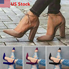 Women Casual Lace UP Strappy Block High Heels Sandals Pointed Toe Party Shoes US