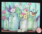 SUSAN WINGET Cute Little Bird Flowers Daisies Jars Pots Blank Note Card NEW