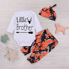 Newborn Baby Boys Deer Little Brother Romper Pants Lggings 3pcs Outfits Clo0thes