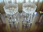 Antique Pair of Large Glass Prism Lustre Lamps Beautiful Heavy Cut Glass