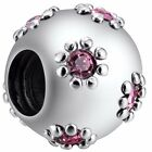 Lucky pink 1 heart European charm Silver bead For S925 Bracelet Necklace Chain S