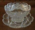 ABP Antique CUT GLASS Crystal MAYO BOWL w/ UNDER PLATE American Brilliant Period