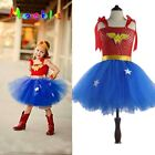Superhero Girls Wonder Woman Tutu Dress Kids Cosplay Costume Party Batman Play