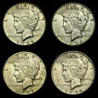 MIXED DATE ~**LOT OF 4**~ Silver Peace Dollar US Old Rare Coin! #69G