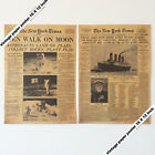 Set of 2p Old Newspaper Apollo Moon Map Lanur Titanic Poster Gifts 16 x 12 Inch
