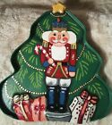Fitz & Floyd Christmas Santa NutCrackerTray Wood Paper Mache Relief Hand Painted