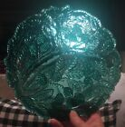 Six (6) Vintage Indiana Glass Teal Green Loganberry Divided Grill Plates