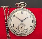 18k Solid White Gold With Enamel Secretary Of State Tavannes Pocket Watch