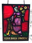 ANTIQUE LEADED STAIN GLASS ART STAINED HANGING WINDOW RENAISSANCE LADY UNIQUE