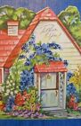 BEAUTIFUL HOUSE WITH WISTERIA VINE BY FRONT DOOR DIE CUT VINTAGE GREETING CARD