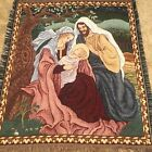 Christmas Nativity Family Tapestry Throw Blanket Fringe 47x57 Mary Joseph Jesus