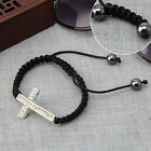 Handmade Charms Bracelets Rhinestone Cross Braided Chain Adjustable Bracelet