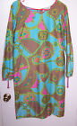 Malihini Designer Collection Vintage Hawaiian Tropical Summer Caftan Dress Sz M