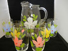 Vintage Hand-Painted Pitcher with 6 Hand-Painted Glasses