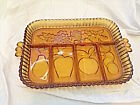 Vintage Indiana Glass Amber Glass Relish Tray Fruit Design