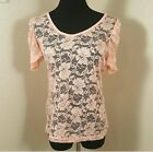 Rue 21 Adorable Sheer Lace Pink Layering knit top size Large Juniors