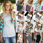 Womens Long Sleeve Floral Print Shirt Casual Blouse Cotton Tops T shirt Pullover