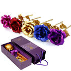 24K Gold Plated Rose Flower Valentines Day Birthday Romantic Gift With Box