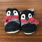 Robeez Black  White Penguin Red Scarf Leather Pull on Crib Shoes Size 0 6 Mos