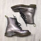125 Dr Doc Martens Patent Leather Metallic Silver Pewter Boot Women US 5 UK 3