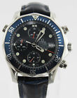 2599.80 Omega Seamaster Popular Blue Dial Automatic Chronograph Leather Watch